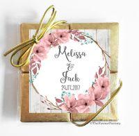 Boho Floral Wreath Wedding Chocolate Favours Quads x1