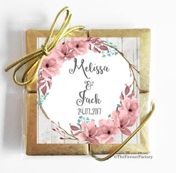 Wedding Chocolates Favours Quads Boho Floral Wreath x1