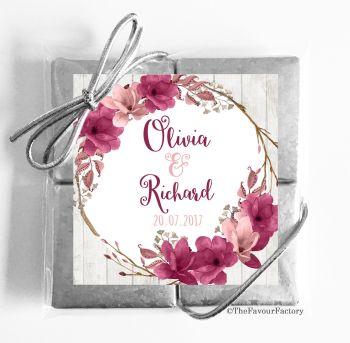 Wedding Chocolates Favours Quads Boho Floral Wreath Blush Burgundy x1