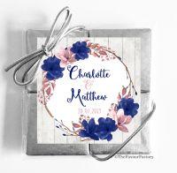 Navy Blush Floral Wreath Wedding Chocolate Favours Quads x1