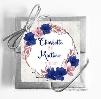 Wedding Chocolates Favours Quads Boho Floral Wreath Navy Blush x1