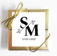 Split Initials Monogram Wedding Chocolate Favours Quads x1
