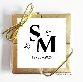 Wedding Chocolates Favours Quads Split Initials Monogram x1
