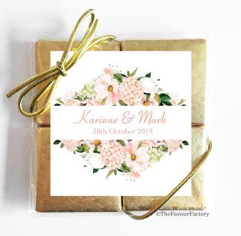 Wedding Chocolates Favours Quads Blush Hydrangeas Floral Frame x1