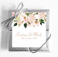 Blush Hydrangeas Floral Drop Wedding Chocolate Favours Quads x1
