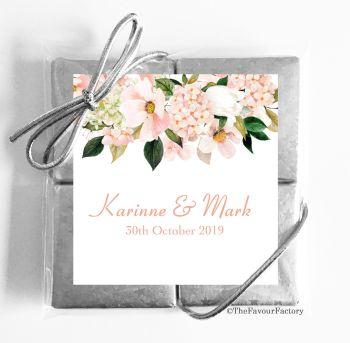 Wedding Chocolates Favours Quads Blush Hydrangeas Floral Drop x1