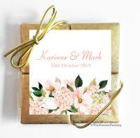 Blush Hydrangeas Bouquet Wedding Chocolate Favours Quads x1