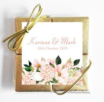 Wedding Chocolates Favours Quads Blush Hydrangeas Floral Bouquet x1