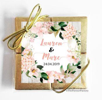 Wedding Chocolates Favours Quads Blush Hydrangeas x1