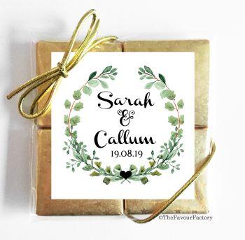Wedding Chocolates Favours Quads Heart Leaf Wreath x1