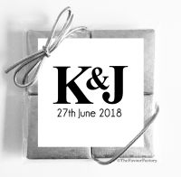 Personalised Wedding Favours Chocolate Quads Simply Initials Monogram x1