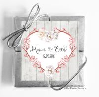 Boho Floral Branch Heart Wedding Chocolate Favours Quads x1