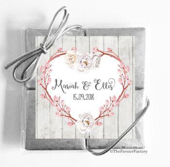 Wedding Chocolates Favours Quads Boho Floral Branch Heart x1