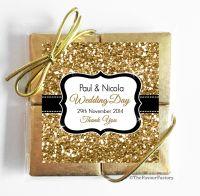 Gold Glitter Wedding Chocolate Favours Quads x1