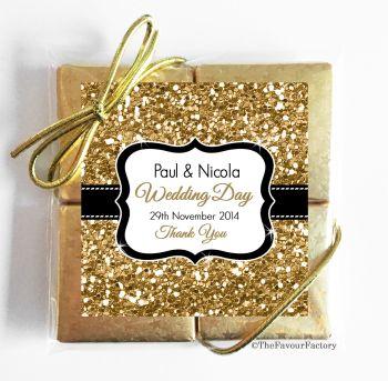 Wedding Chocolates Favours Quads Gold Glitter x1