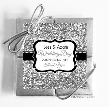 Wedding Chocolates Favours Quads Silver Glitter x1