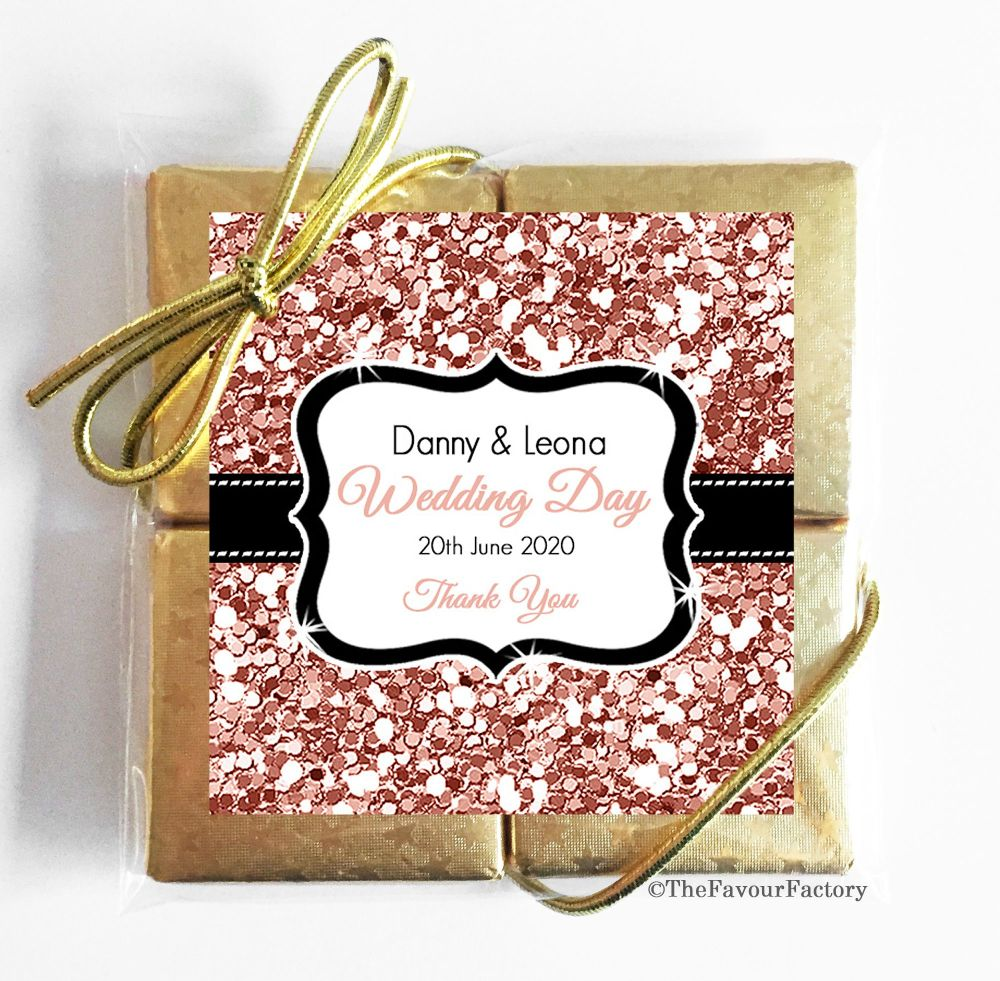 Personalised Wedding Chocolate Favours Quads Rose Gold Glitter x1