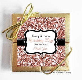 Wedding Chocolates Favours Quads Rose Gold Glitter x1