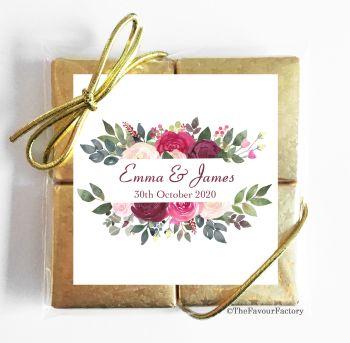 Wedding Chocolates Favours Quads Burgundy Floral Frame x1