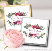 Personalised Wedding Chocolates Blush Burgundy Floral Bouquet x10
