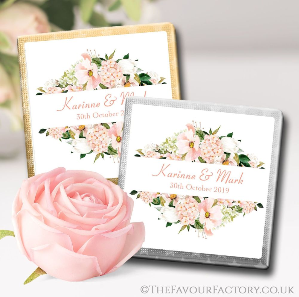 Personalised Wedding Chocolates Blush Hydrangeas Floral Frame x10