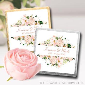 Wedding Chocolates Favours Blush Hydrangeas Floral Frame x10