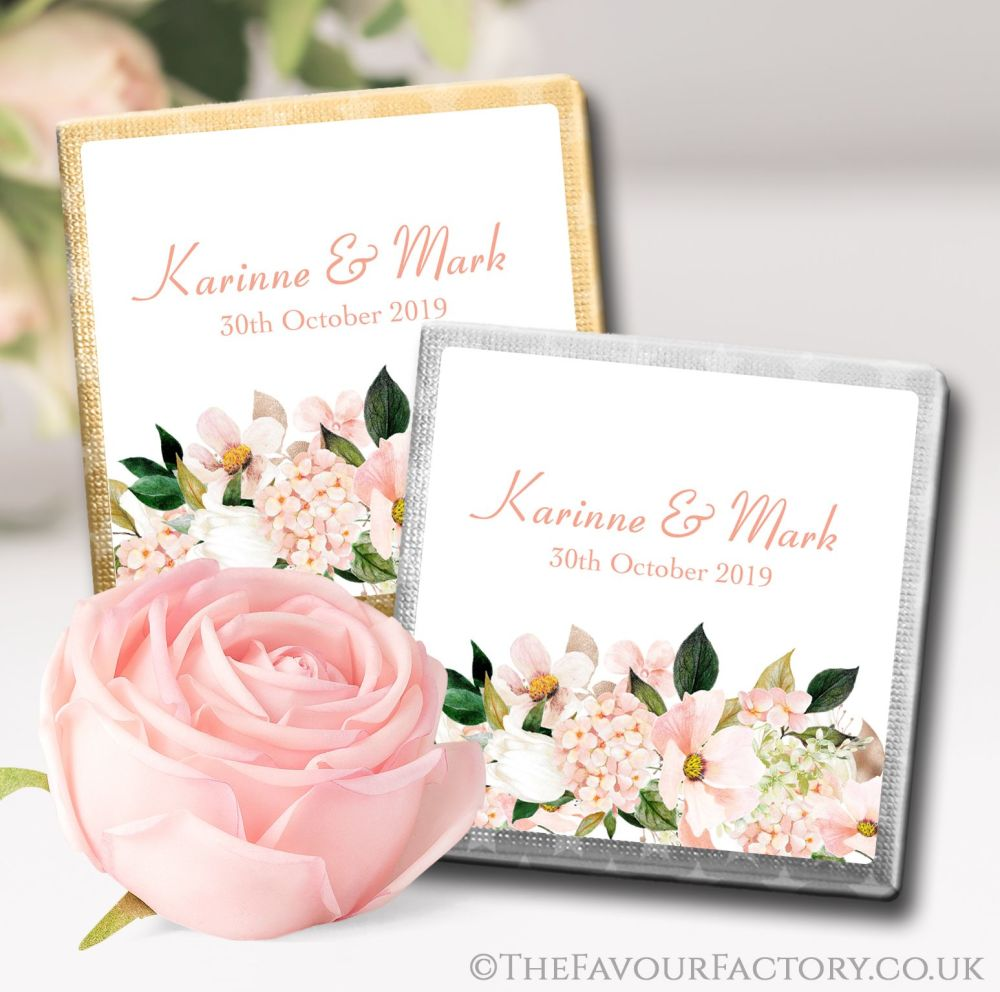 Personalised Wedding Chocolates Blush Hydrangeas Floral Bouquet x10