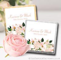 Personalised Wedding Chocolates Blush Hydrangeas Floral Bouquet x10