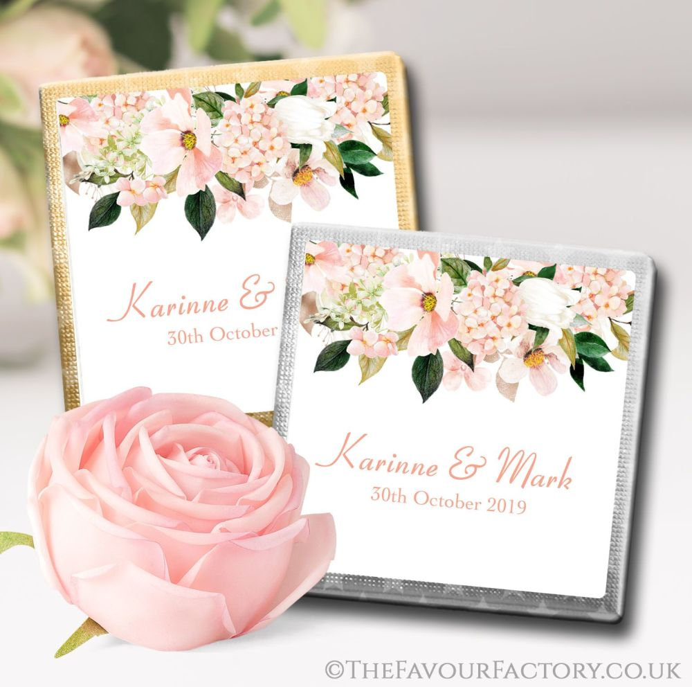 Personalised Wedding Chocolates Blush Hydrangeas Floral Drop x10