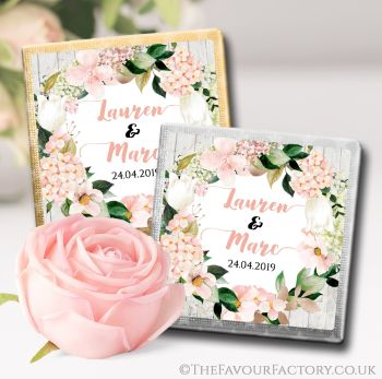 Wedding Chocolates Favours Blush Hydrangeas x10