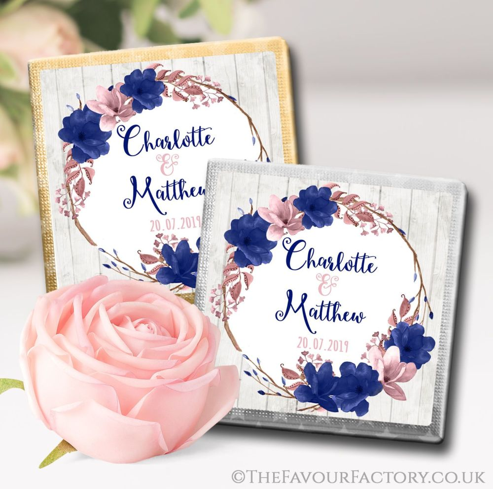 Personalised Wedding Chocolates Boho Floral Wreath Navy Blush x10