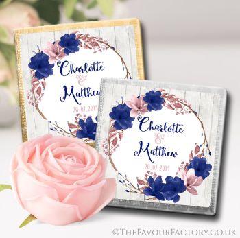 Wedding Chocolates Favours Boho Floral Wreath Navy Blush x10