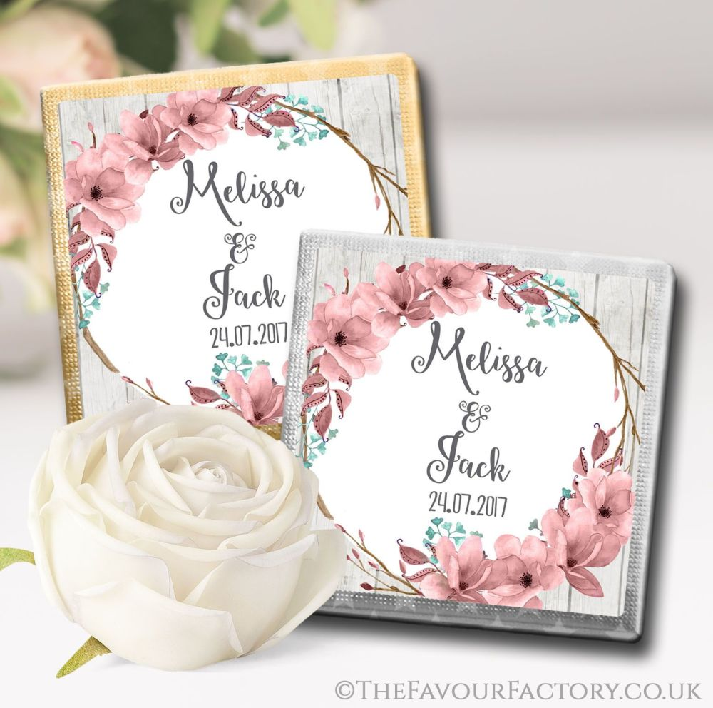 Personalised Wedding Chocolates Boho Floral Wreath x10