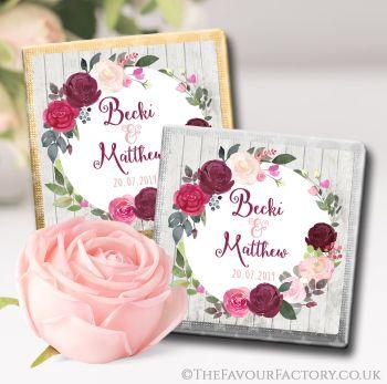 Wedding Chocolates Favours Blush Burgundy Floral Wreath x10