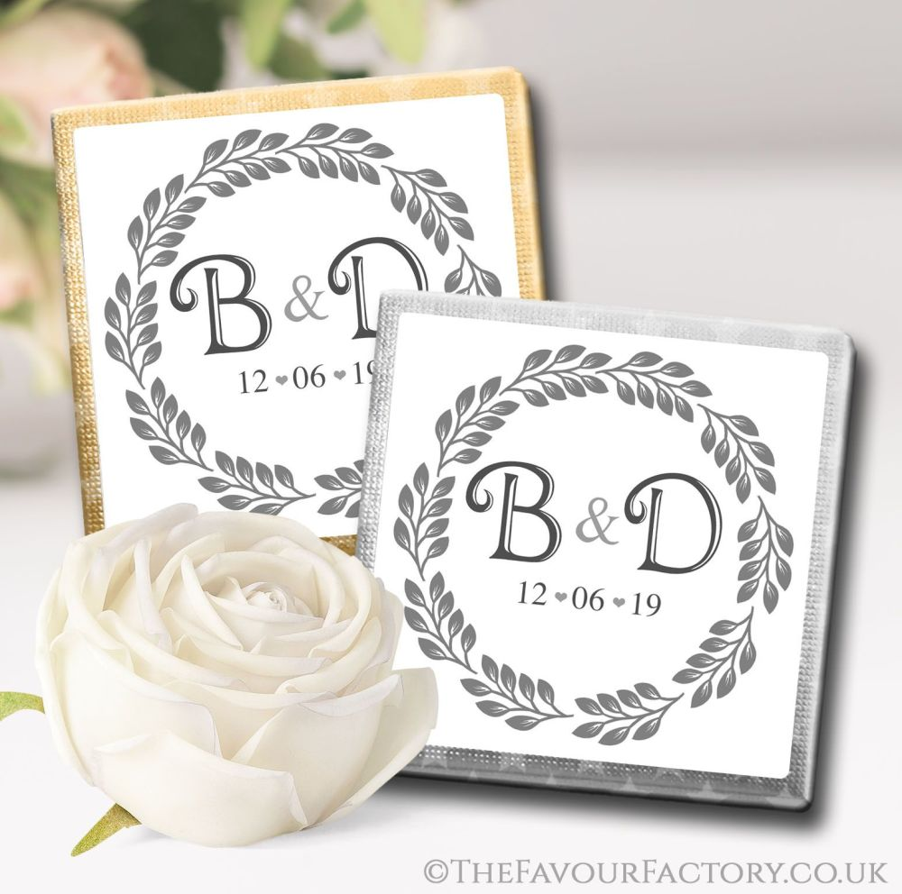 Personalised Wedding Chocolates Favours Boho Leaf Frame x10