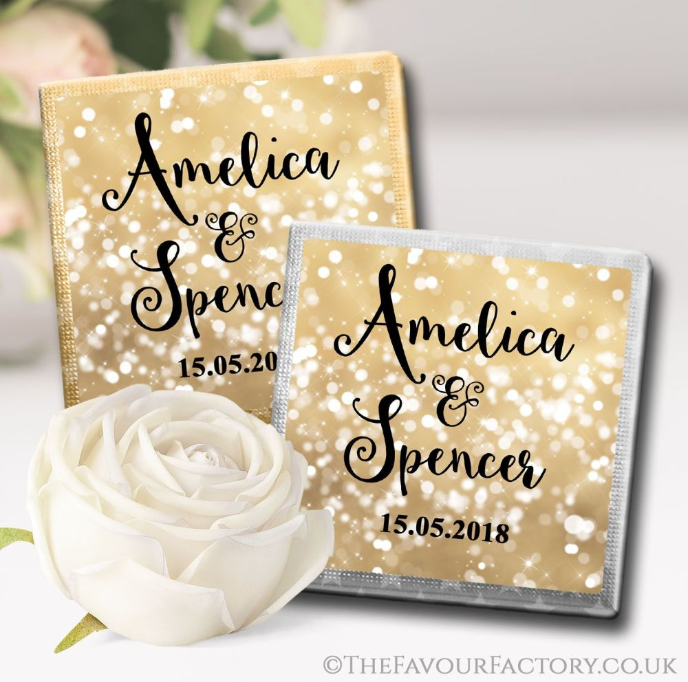 Personalised Wedding Chocolates Bokeh Sparkles Gold x10