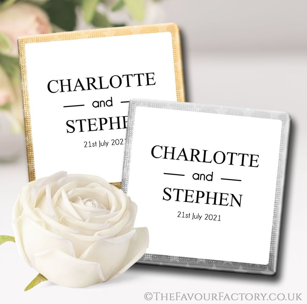 Personalised Wedding Chocolates Favours Classic x10