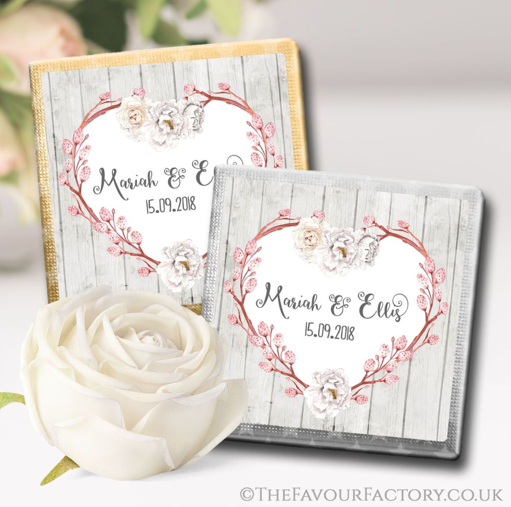Personalised Wedding Chocolates Boho Floral Branch Heart x10
