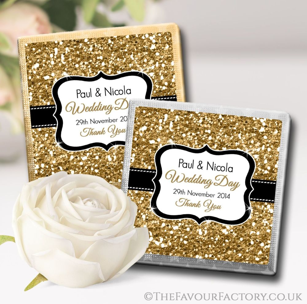 Personalised Wedding Chocolates Gold Glitter x10
