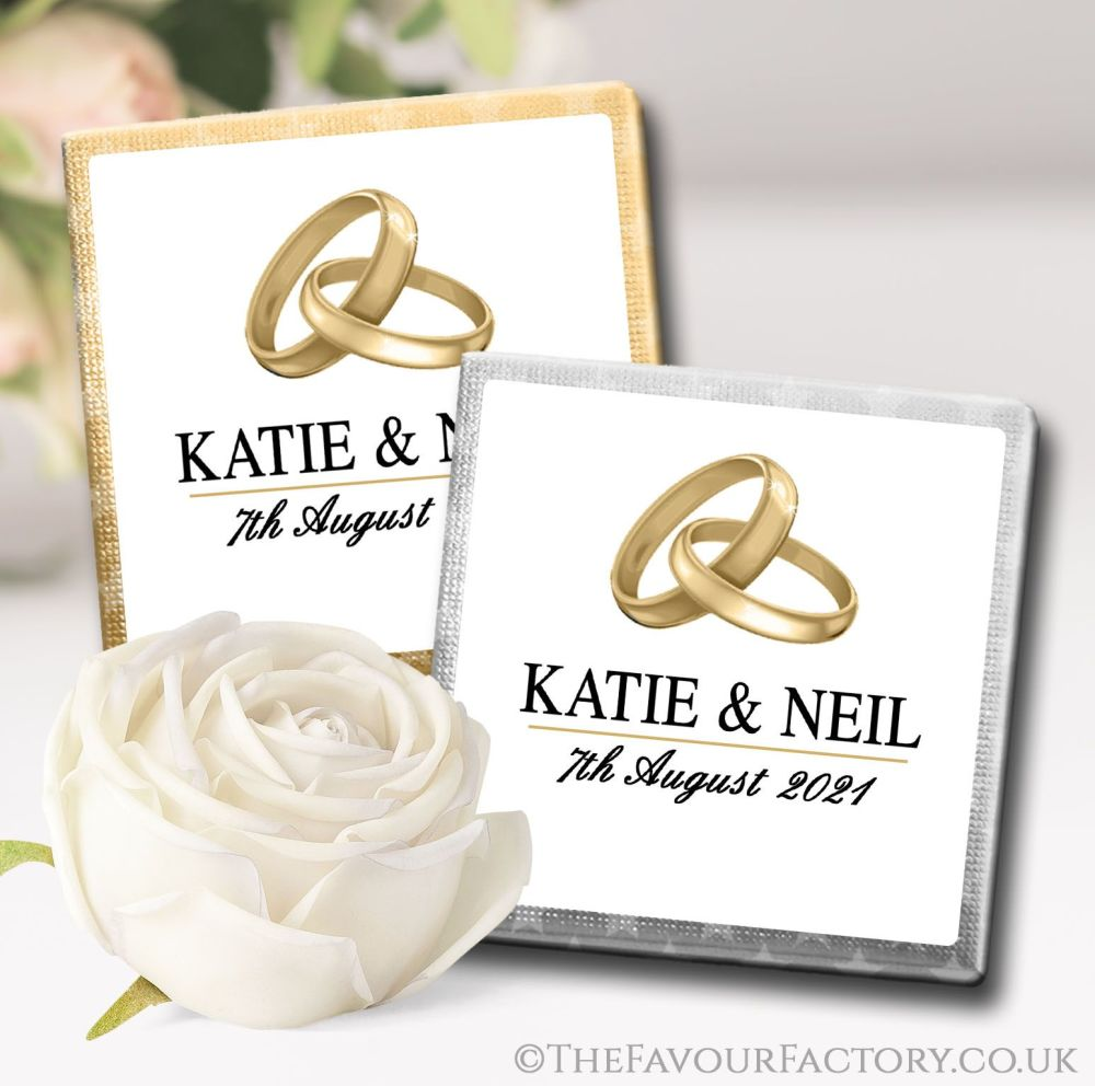 Personalised Wedding Chocolates Gold Bands Rings x10