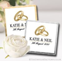 Wedding Chocolates Favours Gold Bands Rings x10
