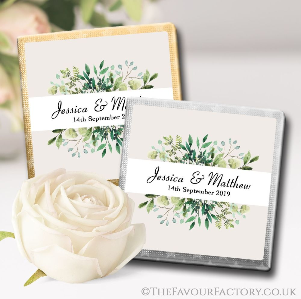 Personalised Wedding Chocolates Botanical Leaf Frame x10