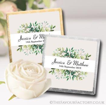 Wedding Chocolates Favours Botanical Leaf Frame x10