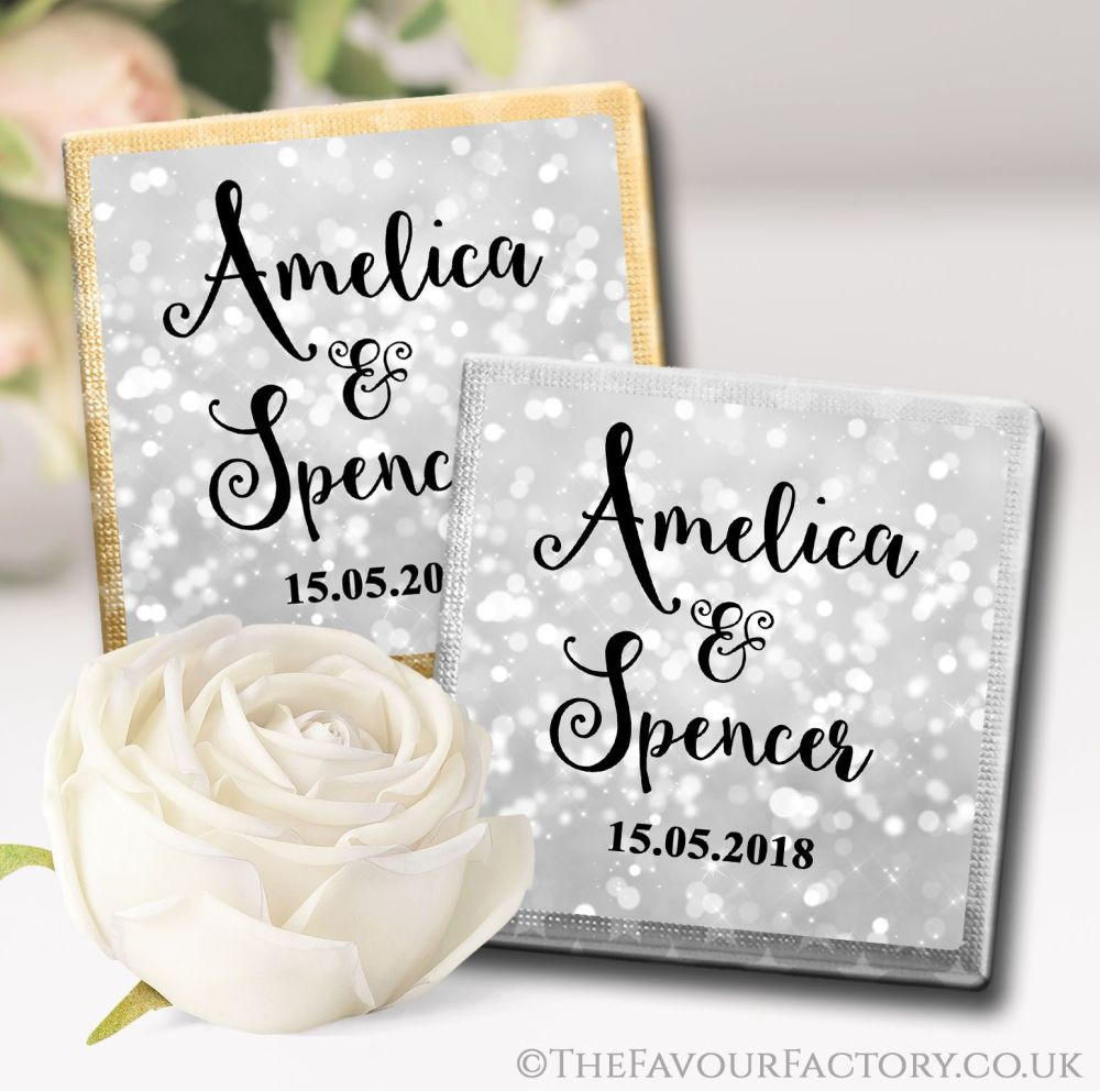 Personalised Wedding Chocolates Bokeh Sparkles Silver x10