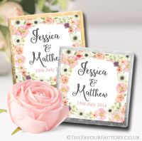 Personalised Wedding Chocolates Favours Blush Flowers x10