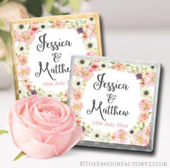 Wedding Chocolates Favours Watercolour Flowers x10