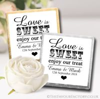 Personalised Wedding Chocolates Favours Love is Sweet x10