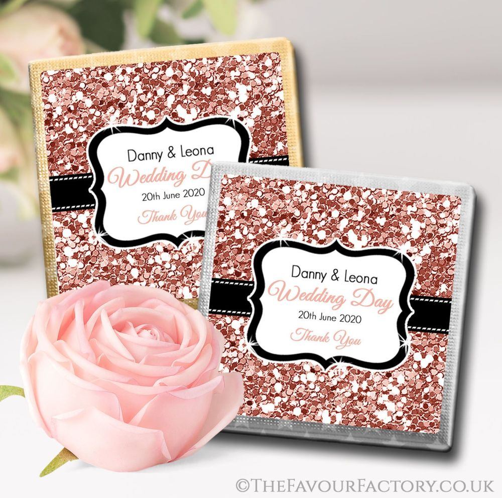Personalised Wedding Chocolates Rose Gold Glitter x10