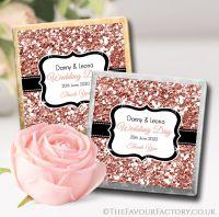 Personalised Wedding Chocolates Rose Gold Glitter x10