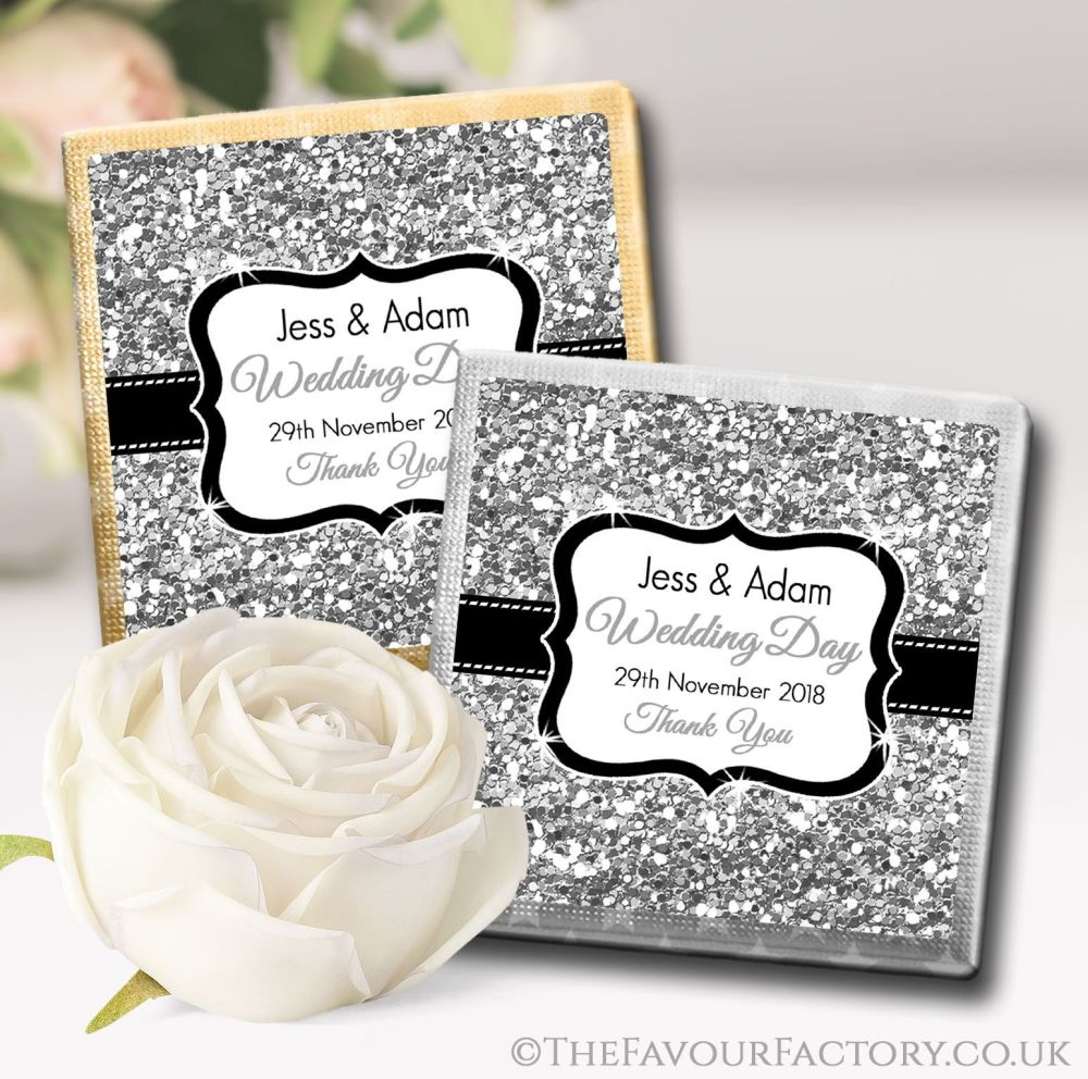 Personalised Wedding Chocolates Silver Glitter x10